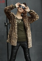 Thickening leopard print outerwear female winter medium-long fur coat with a hood women winter coat with a hood