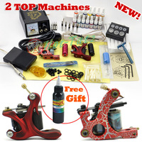 2 Guns Professional Tattoo Machine Kit 14 Colors 5ml Inks Power Tips needles Supply Tattoos set Equipment