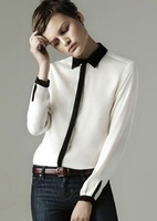 Free Shipping 2013 new long sleeve lady shirt brand blouse fashion contrast color shirts Wholesale &Retail size S/M/L