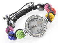 Free shipping (10 pieces/lot) 100%  10mm Crystal AB Clay Disco Balls Shamballa Watches Fashion Jewelry Bracelets Bangles