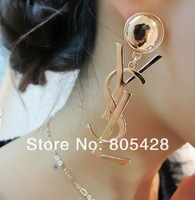 Free Shipping 2013 Stylish Hot Sale Brand Design Logo Drop Earrings,Titanium Steel Jewelry Earrings Rose Gold/Silver/Gold