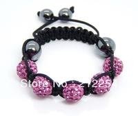 New Kid's Girl Shamballa Jewelry 5pcs Clay Disco Ball Crystal Beads Children Bracelets 30pcs/lot Mixed Order Free Shipping