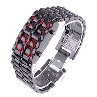 Free Shipping Red Lava Style Iron Samurai LED Watch