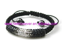 Tube inlay with Crystal Rhinestone Shamballa Bracelet