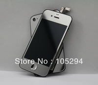 Free shipping!!! Mirror  Silver Front Glass Screen LCD  Digitizer Cover+Back Housing+Home Button Full Assembly For iPhone 4