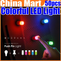 Easy Use Bright Colorful LED Push Pin Light with Suction Cup 5pcs Set Free Shipping 50pcs/lot