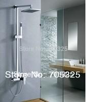 "Bathroom Wall Mounted Bathroom with Handheld Shower 8"" Shower Head Rainfall Faucet Set  Chrome JN-0053"