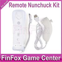 Remote Nunchuk Controller With Silicone Case and Hand Strap for Wii (White)