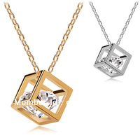 Free Shipping Hot sell perspective cube short necklace CZ alloy in high quality