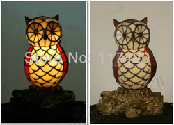 2013 Newest discount Festival gift Tiffany Nightlight/ European decorative bedside lamp /owl /stained glass craft lamp(China (Mainland))