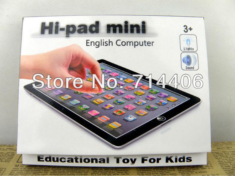 Free shipping New MINI Hi-pad English educational toys, Mini YPad With Blue,Pink,Black&White 4 color Mixed,Music&Light,48PCS/Lot(China (Mainland))