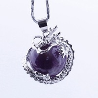 1PC Bling Dragon Amethyst Pendulum Divination Reiki Healing Dangle Pendant DA02
