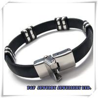 Hot Sale Men's Boy's Silver Stainless Steel Black Rubber Bracelet,Free Shipping,B#05,Fashion Bracelet