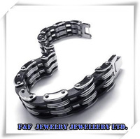 HOT SALE Mens Silver Black Stainless Steel Bracelet Chain Bangle,Free Shipping,B#16