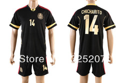 Embroidery Logo High Quality 12-13 mexico soccer jersey new font CHICHARITO 14(China (Mainland))