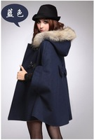 High Quality warm wool Overcoat fur shawl cape Jackets Horn button Bow Hooded jacket woman coat
