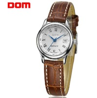 2012 leather blet quality Lady watch of HK dom famous brand with 50m waterproof female vintage ultra-thin strap watch for women