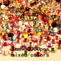 50000pcs/bag 3mm colorized Resin rhinestone flatback DIY decoration Free shipping