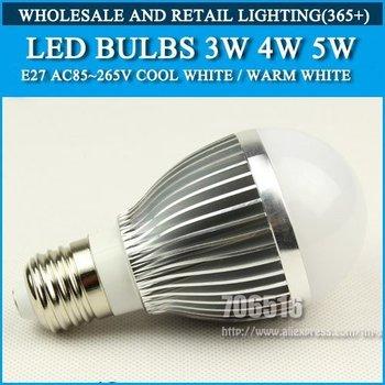 Wholesale 200PCS E27 3w 4w 5w AC85-265V Warm White/Cool White LED Bulbs Free shipping