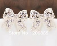 Cute Full Rinestone Alloy Rhinestone Earrings Charming Bowknot Earrings