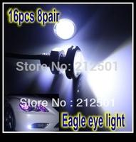 Free shipping 16PCS 8pair 3W  High Power LED Larger Lens Ultra-thin car led Eagle Eye Tail light Backup Rear Lamp White Color