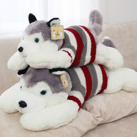 65 cm(25.6 inch) stuffed dog toy plush Husky in cute sweater, new arrival 1 piece/lot plush doggy toy for baby's gift, free ship