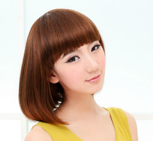 cheap price hot selling short wig 2012 high quality short Style sweety Girls' BOBO Head hair wig cosplay wig 3 color available(China (Mainland))