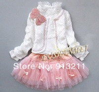 retail,Beautiful lace girls 3 pcs set lace skirt + t shirt + jacket beads preal bowknot chlidren clothes autumn kids suits