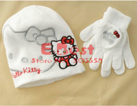 Free Shipping!!Baby Girl Cute hats ,Cartoon Hello Kitty hat+gloves ,Children fashion wear,Winter/Autumn soft cap,5sets/lot