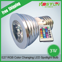 E27 RGB LED lamp 16 Color Change lamps AC85-265V with IR Remote Control bulb RGB spotlight  for Home Party decoration