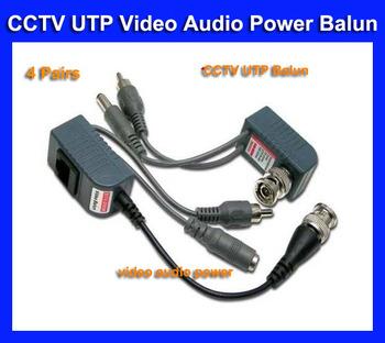 Freeshipping 4 Pairs BNC Video Balun RJ45 Audio Power CCTV Audio Video Balun UTP twisted pair Power Transceiver