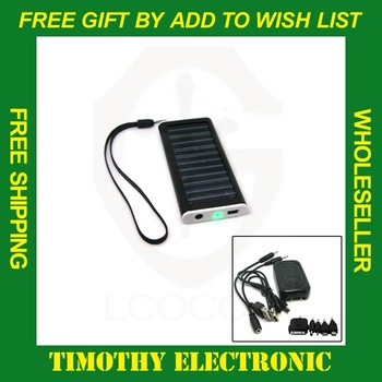 Free shipping Solar USB AC Power Portable Charger for Cell Mobile Phone MP3 Camera 1PC #SJ001