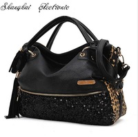 2013 New fashion casual leopard print bags one shoulder women's handbag leather handbag