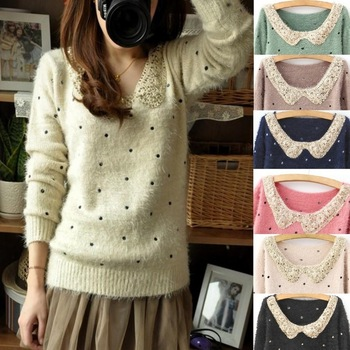 Hot Sell Christmas Xmas Bling Paillette Collar Pullover Mohair Dot Polka Long Sleeve Women Sweater with Sequins