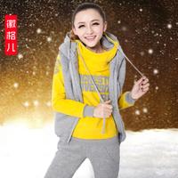 Женские толстовки и Кофты Autumn winter women's vest sweatshirt 3 piece set, thickening hoodie sweet shirt with pants and jackets SU896