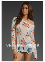 New Fashion Summer Vintage Flower Printed Womens Knitted Sweater Pullover  Destroyed Casual Blouse Shirt