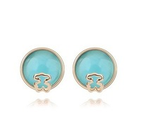 Naughty Bear semicircle plated with real gold opal Stud Earrings  (4-colors)