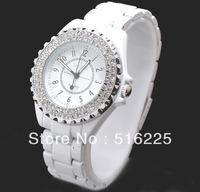Free shipping Rhinestone ceramic fashion quartz white ladies watch fine watches hot-selling 155096