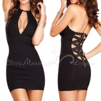 New Tops Sexy Club Dress,Free shipping Women Ladies Deep V-Neck Halter Back Cross Straps Zipper Sheath Mini Party Dress S M L XL