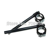 """39MM Universal CNC Clip On Ons Handlebars Handle Bar For 39mm Fork Tube BLACK 7/8"""" diameter, 12"""" long"""