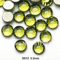 AAA+ Wholesale Olivine color 1440pcs/pack SS12 3.0-3.2mm  Crystal Nail Art Rhinestones  Non hotfix Rhinestone Free Shipping