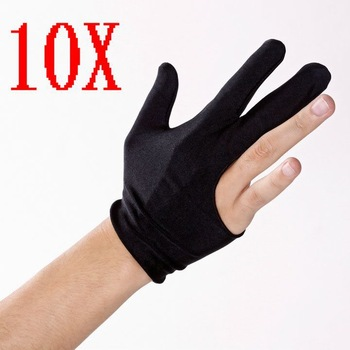 10pcs X Cue Billiard Pool Shooters 3 Fingers Gloves Black free shipping