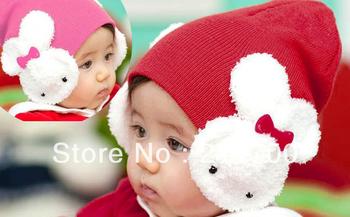 Free Shipping 2 pcs Newborn Baby Boys Girls Protective Ear Cap Animal Rabbit Crochet Beanies Hat