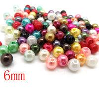 Free Shipping 1000 PCs Mixed Acrylic beads Pearl Imitation Round Beads 6mm Dia. (W00814)