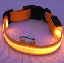 Orange lights new Nylon Flashing Dog Collar Pets Collar Flashing LED Light For Visability Flashing Light Collars Free shipping(China (Mainland))