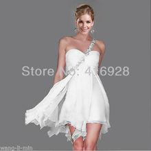 Free Shipping 2013 New Fashion Sexy Mini One-Shoulder Chiffon Short Bridesmaid Dresses(China (Mainland))