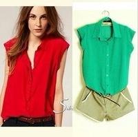 Candy Colors Turm Down Collar Lose Chiffion Tee shirt  Single Button Blouse 2013 New Comes