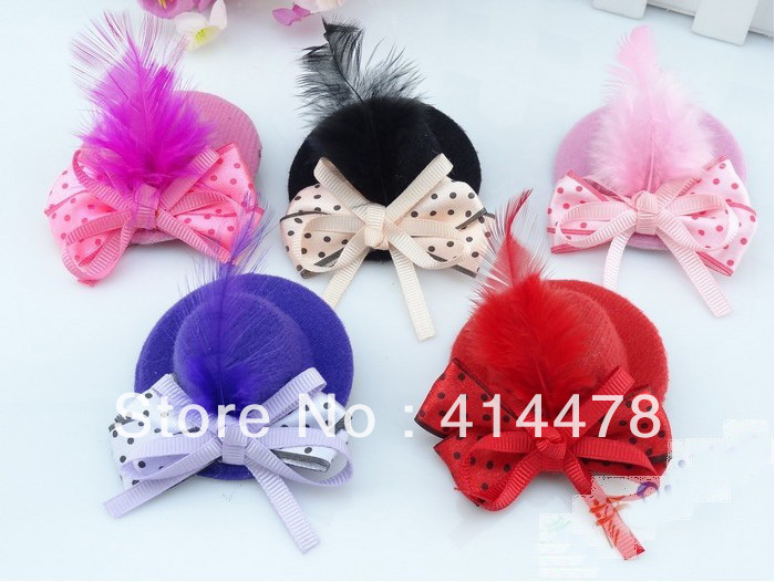 Free Shipping New Discount Fashion Feather Baby Hair Clip/Mini Top Hat With Clips/Hair Accessories/Headpiece/Baby Bows/5Colors(China (Mainland))