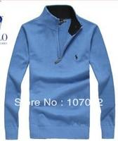 100% cotton sweater High quality men's clothing male slim sweater fashion turtleneck zipper  free shipping