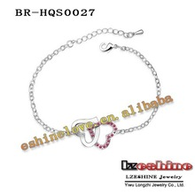 Platinum Plating Doublehearted Bracelets & Bangles Pave Austrian Crystals Charm Jewelry 6Colors Options Free Shipping BR-HQS27